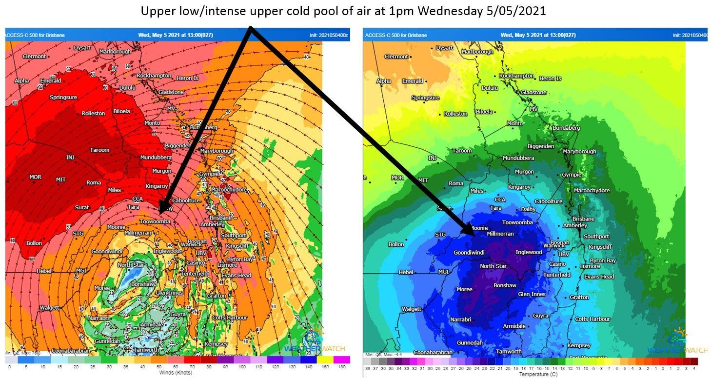Position of the upper low/intense cold pool of air over southern Queensland. 1pm Wednesday 5/05/2021. Images via WeatherWatch Metcentre.