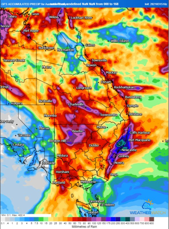 Rain accumulation over the next 7 days from the ACCESS Model