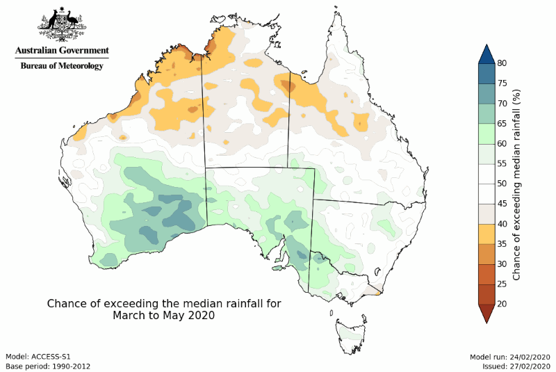 Rain outlook from March-May 2020