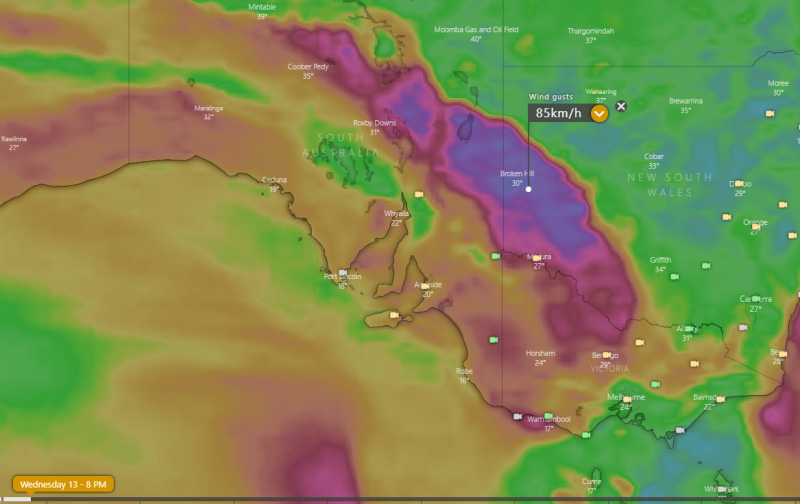Wind gust forecast for 8pm EDT, Wednesday 13 January, 2021