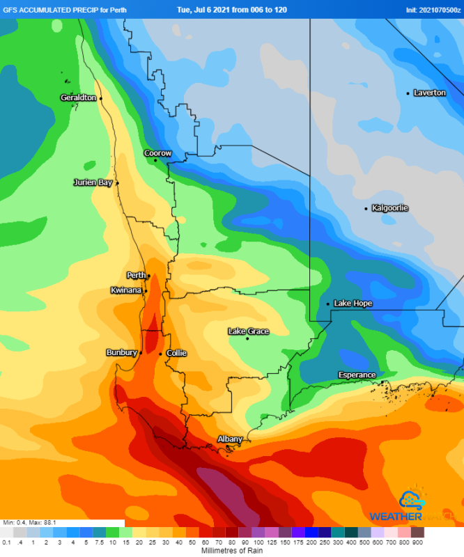 Image 1: Accumulated precipitation over the next 5 days from the GFS Model (Source: Weatherwatch Metcentre)