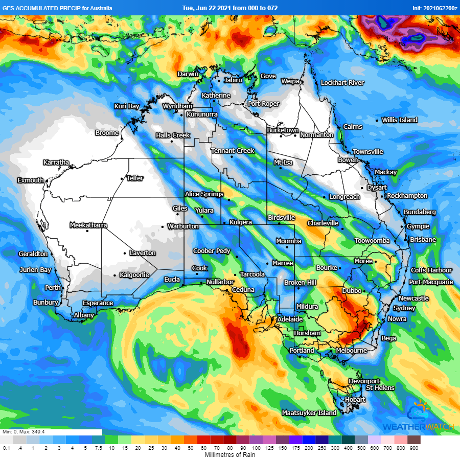 Image 4: Accumulated precipitation across the next 72 hours (Source: Weatherwatch Metcentre)