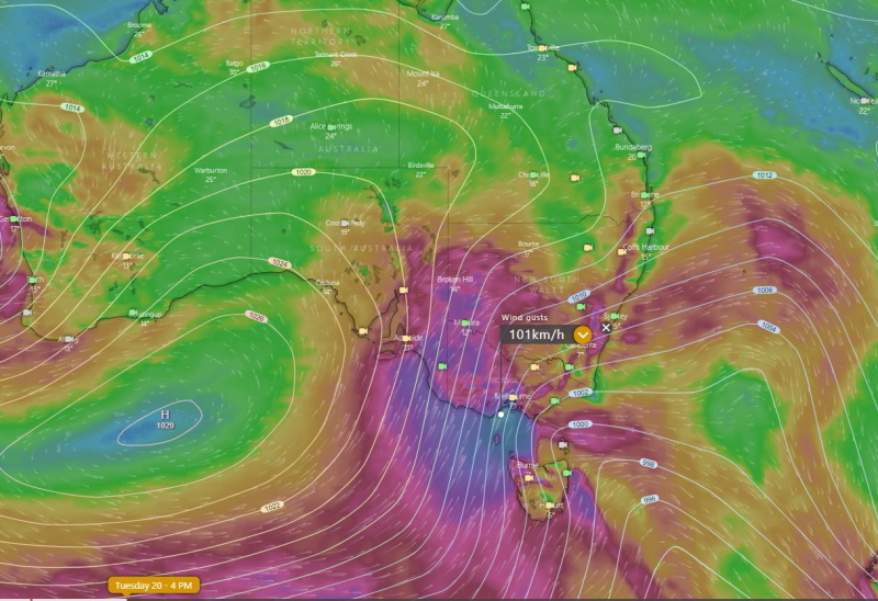 Image 1: Mean sea level pressure and forecast wind gusts on Tuesday 20th July, 2021 from the EMCWF Model (Source: Windy.com)