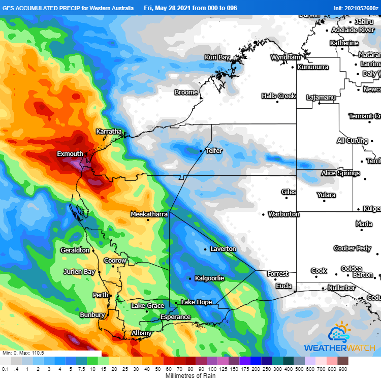 Image 1: Accumulated rainfall across the next 96 hours from the GFS Model (Source: Weatherwatch Metcentre)