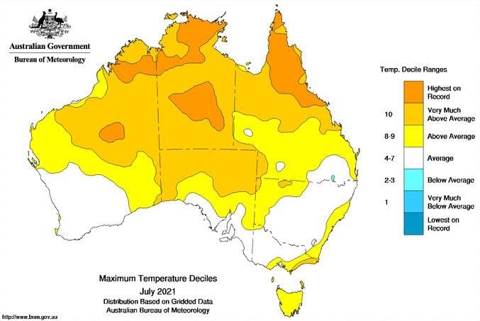 Image 1: Mean temperature deciles (maximum and minimum temperatures combined) for Australia during July 2021 (Source: Bureau of Meteorology)