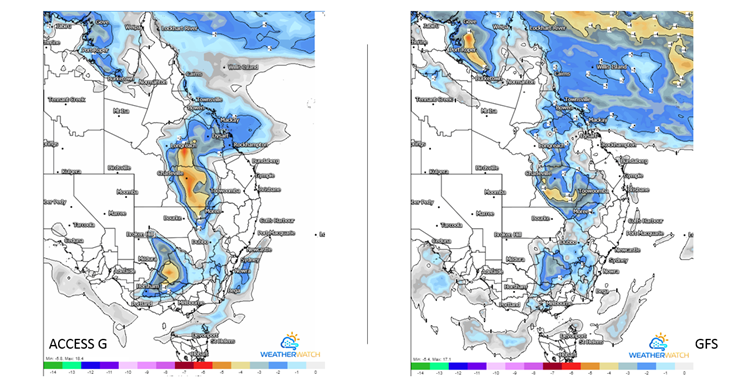 Image 1: ACCESS G and GFS instability levels next Wednesday afternoon. Lower the negative value, the more instability available. Image with WeatherWatch Metcentre.