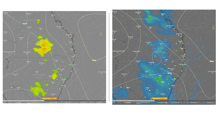 Image 2: Thunderstorm potential, and potential rain and storms next Wednesday evening. Image via Windy.com