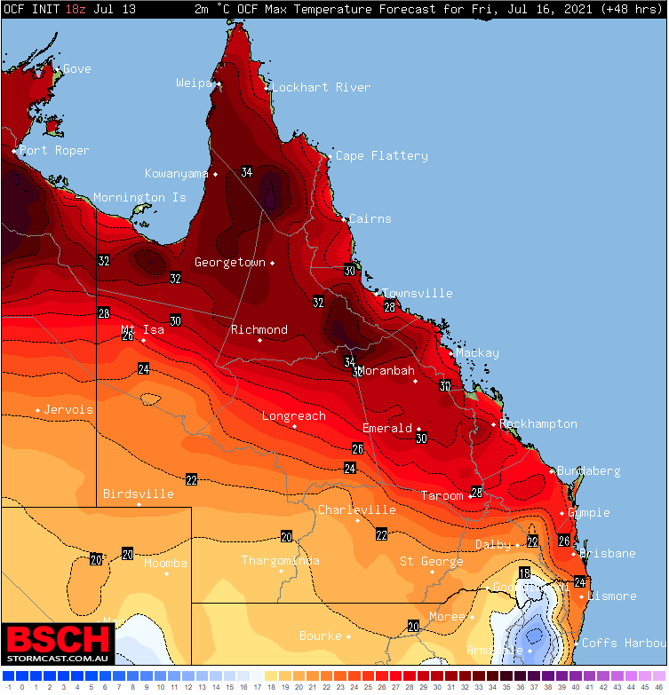 Image: OCF Forecast Maximum temperatures for Friday 16 July, 2021 (Source: BSCH Stormcast)