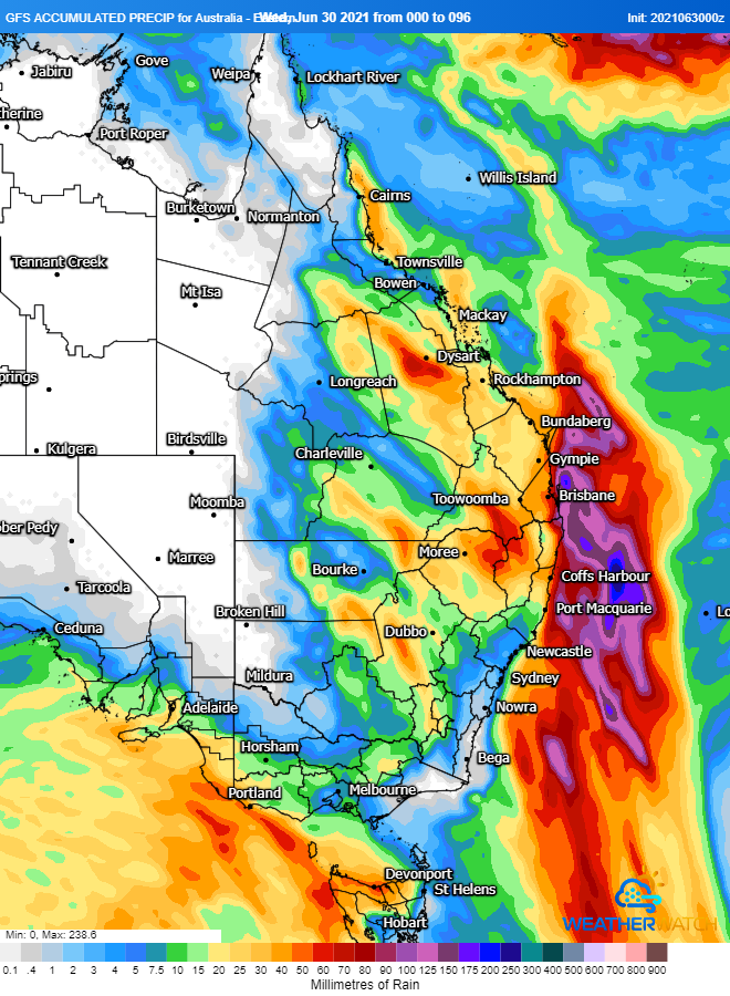Image 1: Accumulated precipitation over the next 96 hours from the GFS Model (Source: Weatherwatch Metcentre)