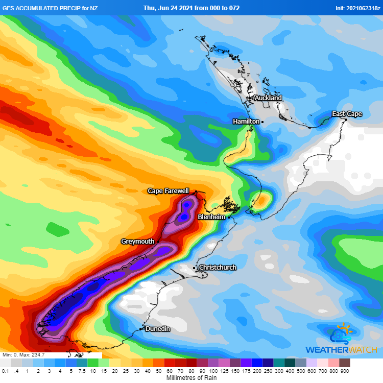 Image 1: GFS Accumulated precipitation over the next 72 hours (Source: Weatherwatch Metcentre)