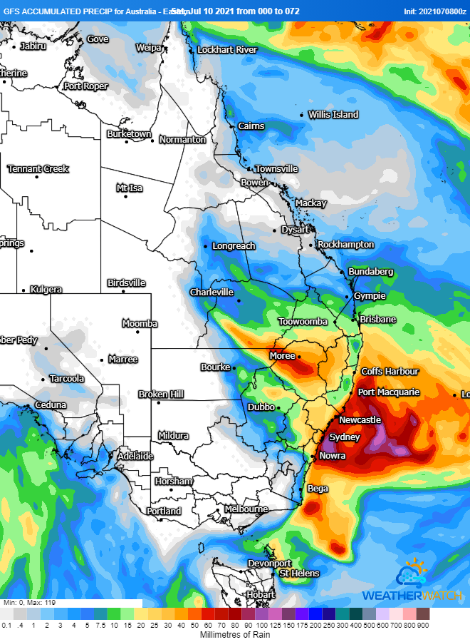 Image 1: Accumulated precipitation from the GFS Model across the next 72 hours (Source: Weatherwatch Metcentre)