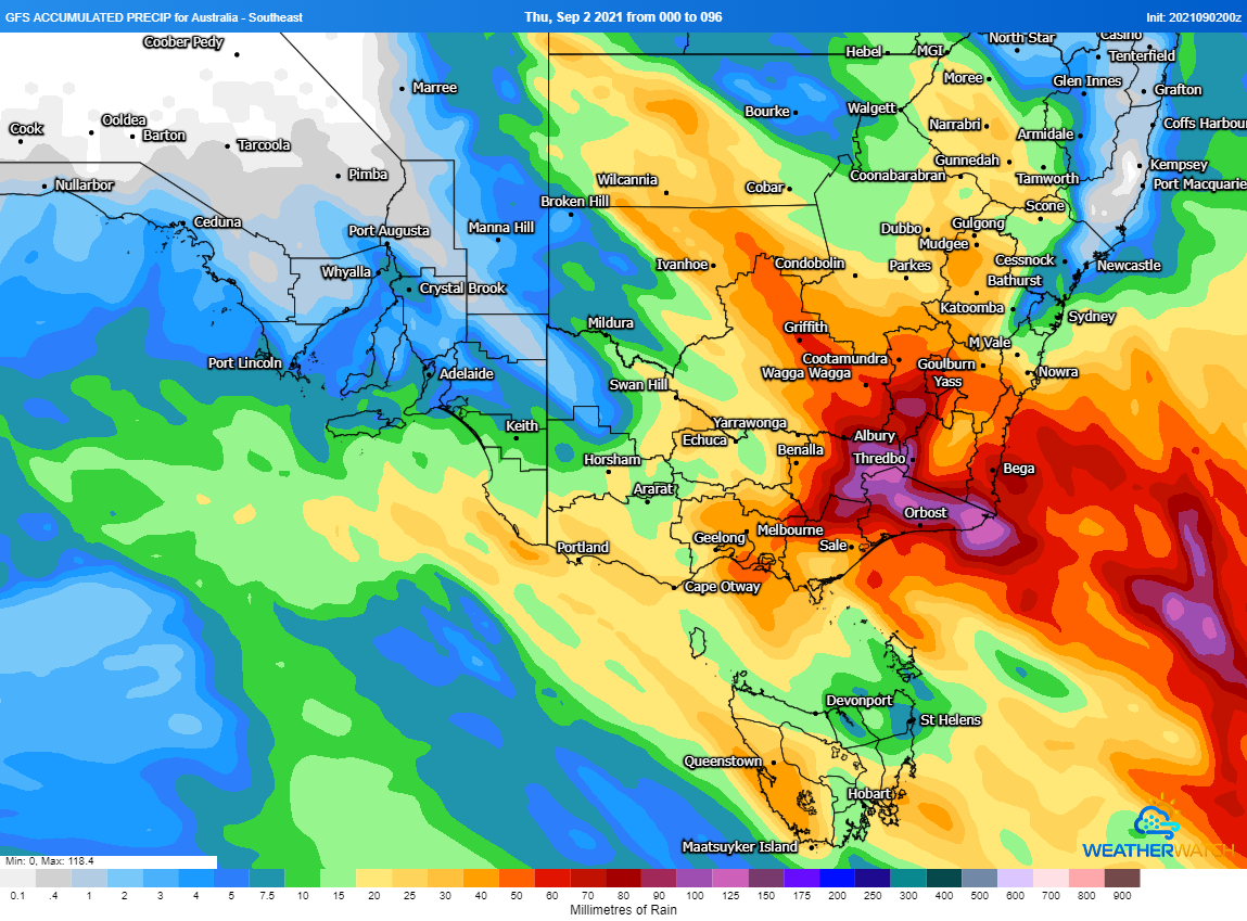 Image 1: Accumulated rainfall predictions from the GFS Model across the next 96 hours (Source: Weatherwatch Metcentre)