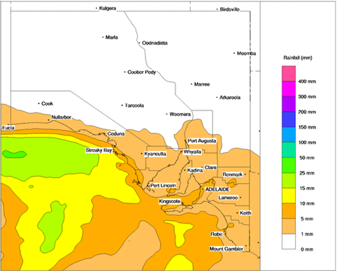 Image 1: Bureau of Meteorology predicted rainfall for Tuesday 15/06/2021