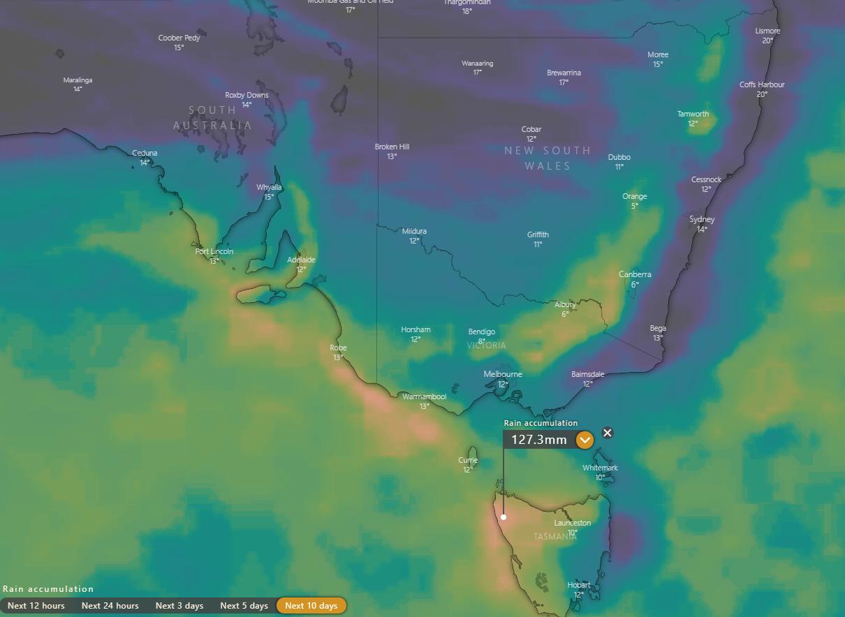 Image 1: ECMWF Rainfall accumulation across the next 10 days (Source: Windy.com)
