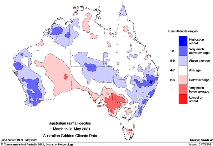 Image 2: Rainfall deciles over Australia during autumn 2021