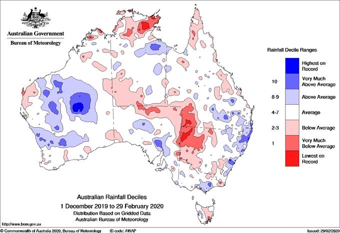 Rainfall deciles across Australia for summer 2019-2020