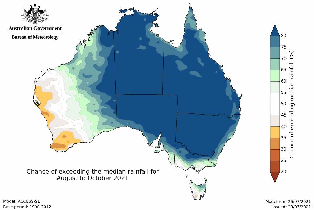 Image 3: Rainfall outlook from August to October over Australia (Source: Bureau of Meteorology)