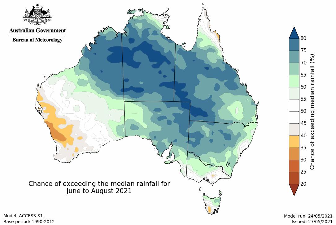 Image 3: Rainfall outlook for winter 2021 (Source: Bureau of Meteorology)