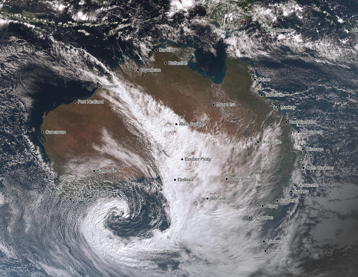 Image 1: Satellite imagery showing thick cloud stretching from northwest to southeast Australia
