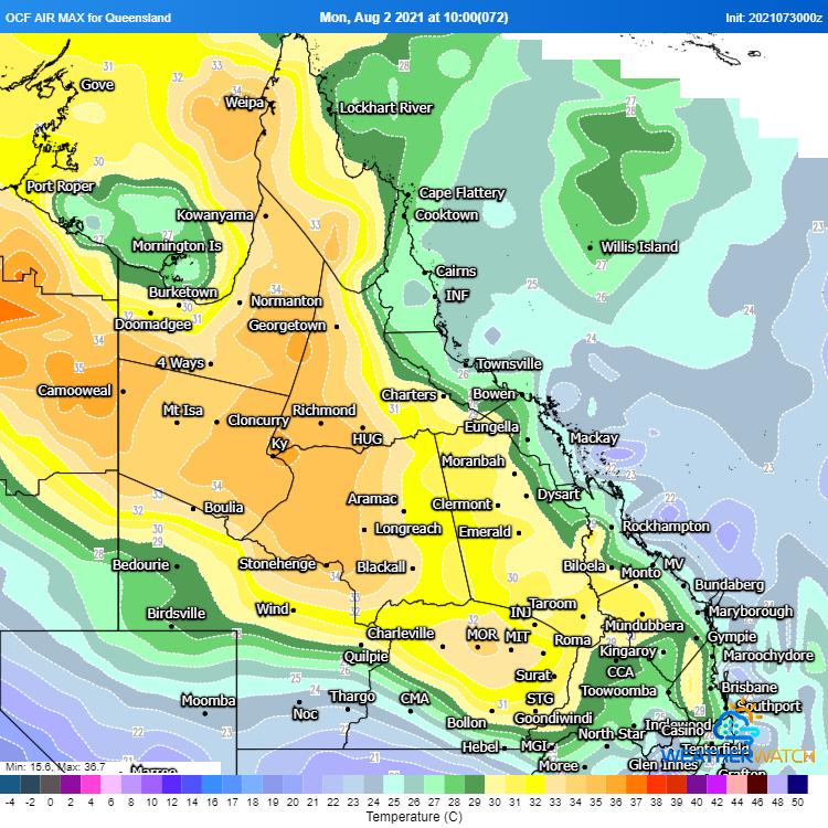 Image 2: OCF Forecast maximum temperatures for 2 August, 2021 (Source: Weatherwatch Metcentre)